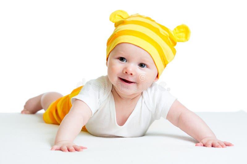 Babyjongen in grappige hoed stock afbeeldingen