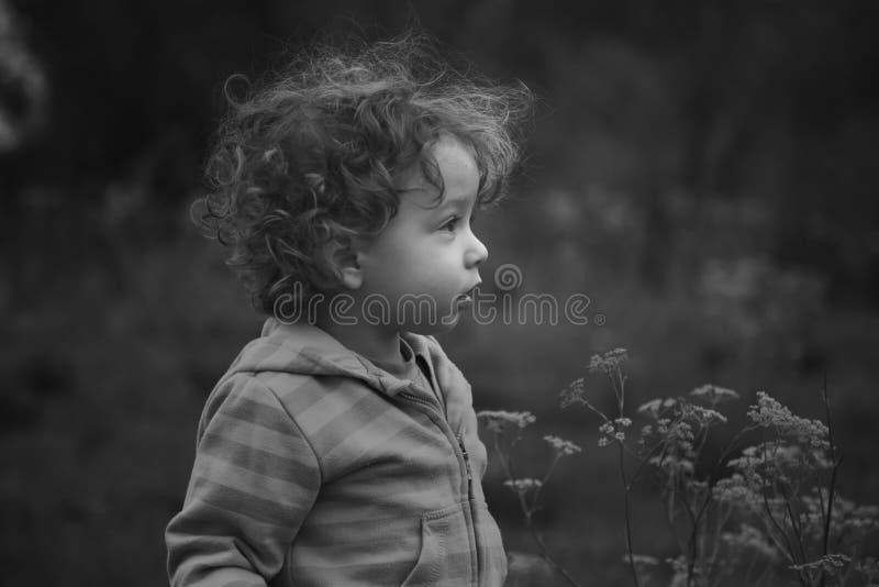 Babyjongen openlucht in het platteland royalty-vrije stock afbeeldingen