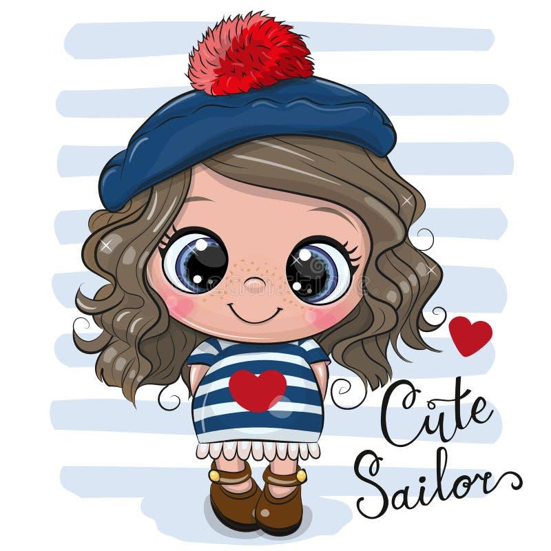 Babykarikatur Mädchen im Seemannkostüm vektor abbildung