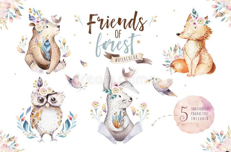 Babykarikaturkaninchen- und -bärntier- für Kindergarten, Waldrotwild-, Fuchs- und Eulenkindertagesstätte des netten Aquarells böh lizenzfreie abbildung