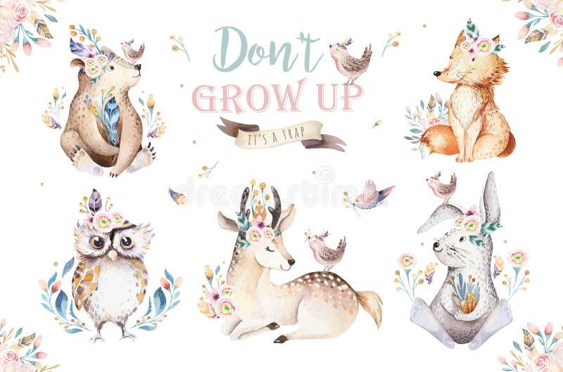 Babykarikaturkaninchen- und -bärntier- für Kindergarten, Waldrotwild-, Fuchs- und Eulenkindertagesstätte des netten Aquarells böh stock abbildung