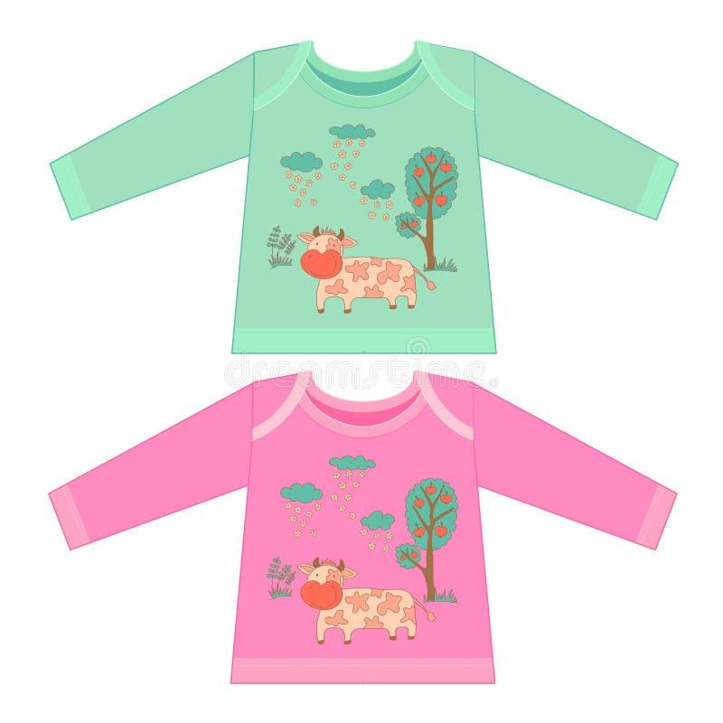 Babykleidung mit Karikaturtieren Flüchtige kleine rosa Kuh stock abbildung