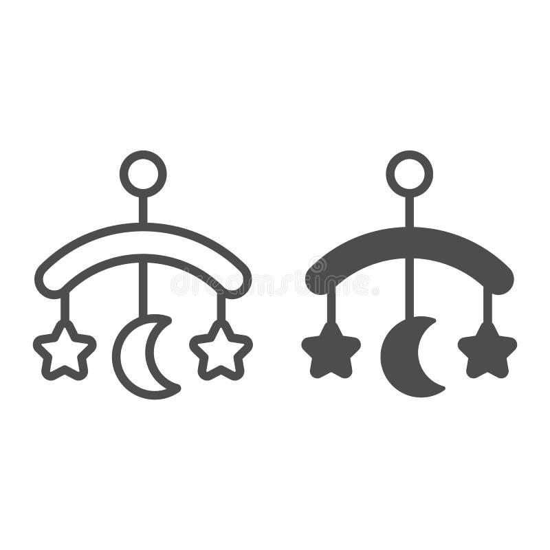 Babykrippen-Spielzeuglinie und Glyphikone Hängende Spielzeugvektorillustration lokalisiert auf Weiß Kinderkrippenspielzeugentwurf lizenzfreie abbildung