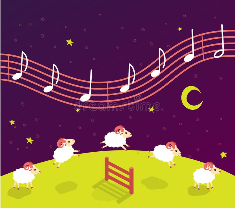 Babyliedwiegenlied vor Schlafenszeit Lämmer springen über den Zaun Musik im sternenklaren Himmel vektor abbildung