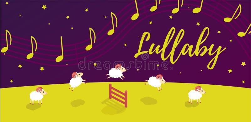 Babyliedwiegenlied vor Schlafenszeit Lämmer springen über den Zaun Musik im sternenklaren Himmel stock abbildung