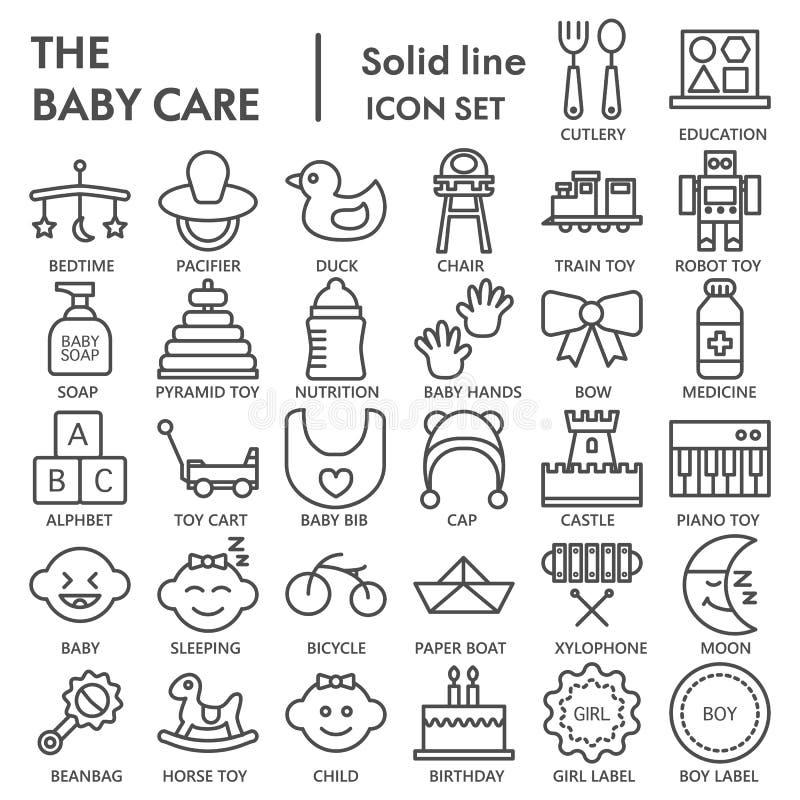 Babylinie UNTERZEICHNETER Ikonensatz, Spielzeugsymbole Sammlung, Vektorskizzen, Logoillustrationen, lineare Piktogramme der Kinde lizenzfreie abbildung
