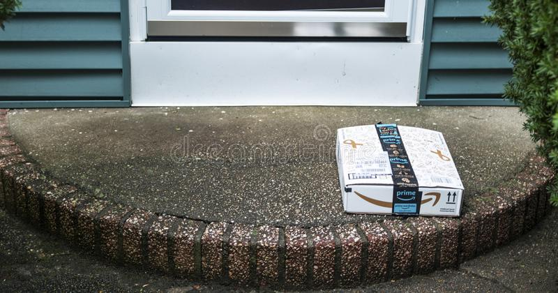 Package dlivered to front porch royalty free stock photos