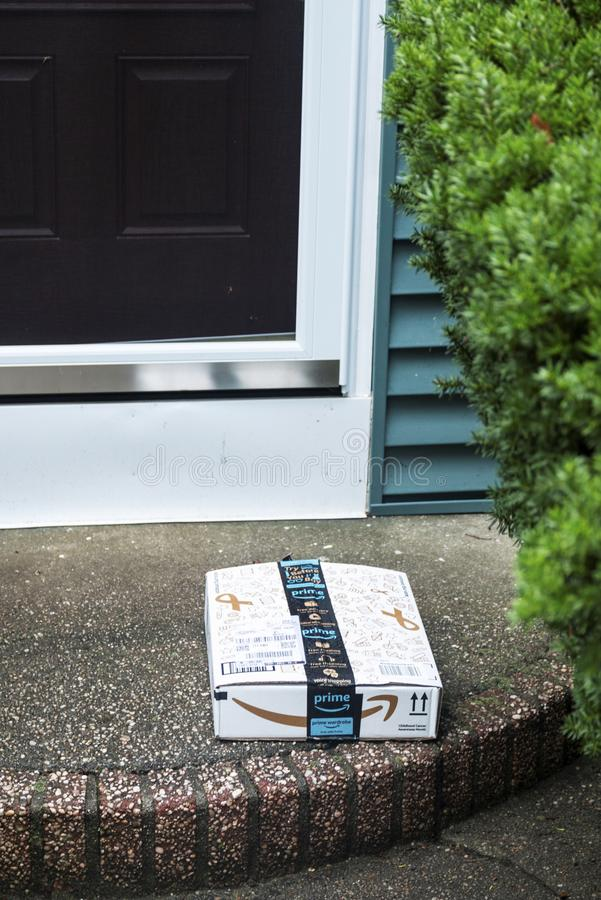 Package left on front stoop royalty free stock photography