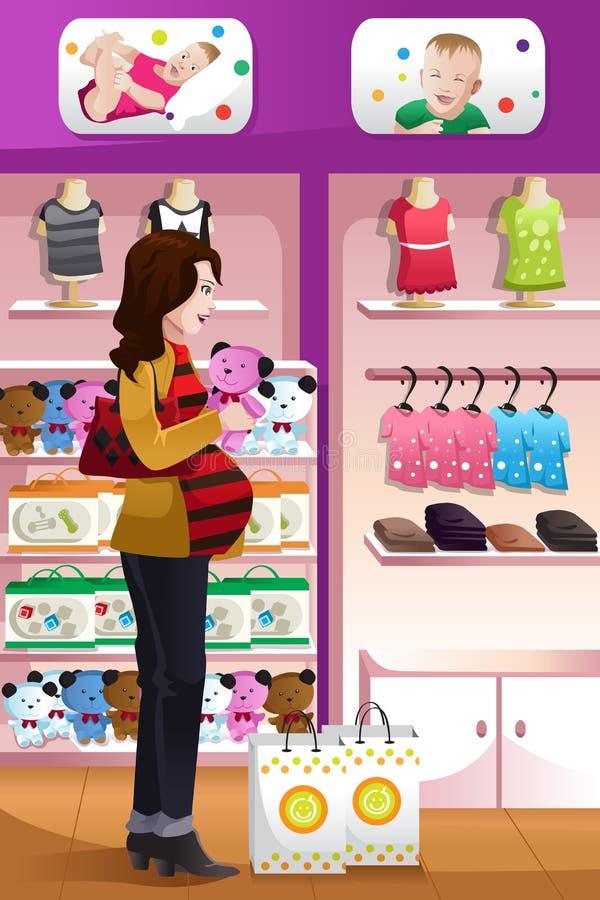 Babymaterial der schwangeren Frau Einkaufs lizenzfreie abbildung