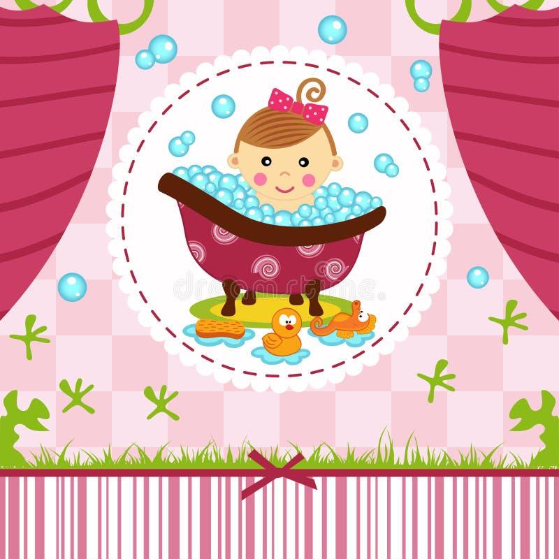 Babymeisje in bad vector illustratie