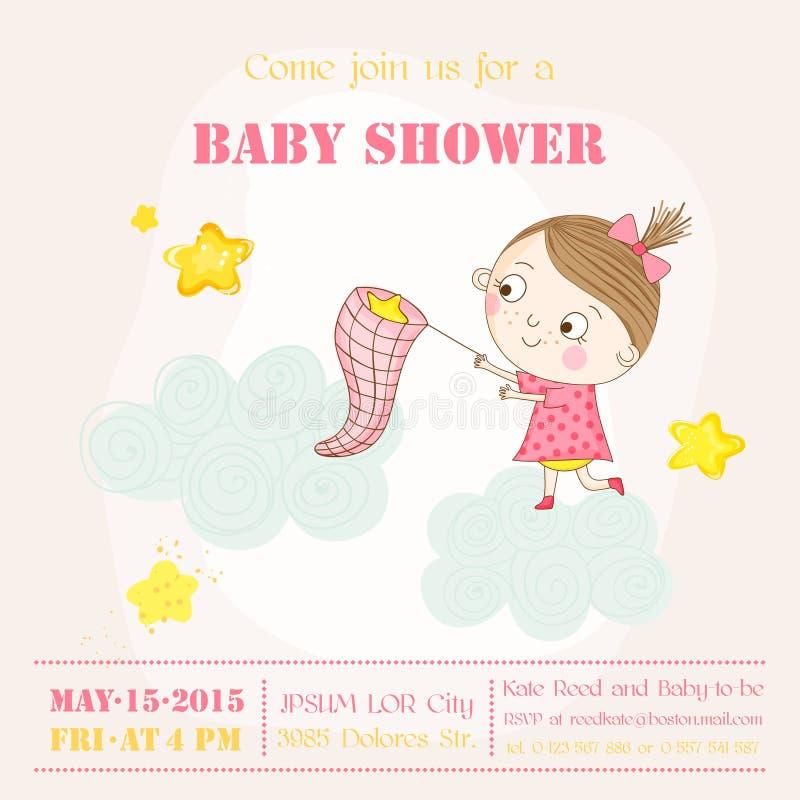 Babymeisje die Sterren op een Wolk vangen - Babydouche of Aankomstkaart royalty-vrije illustratie