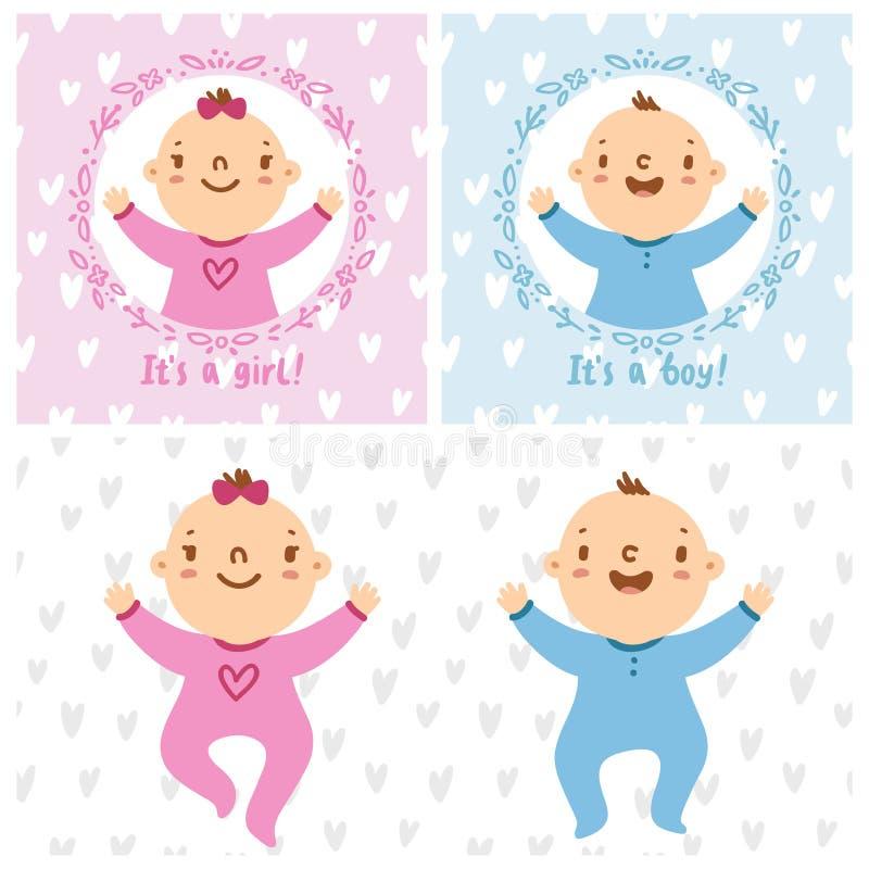 Babymeisje en de zuigelingen van de babyjongen stock illustratie