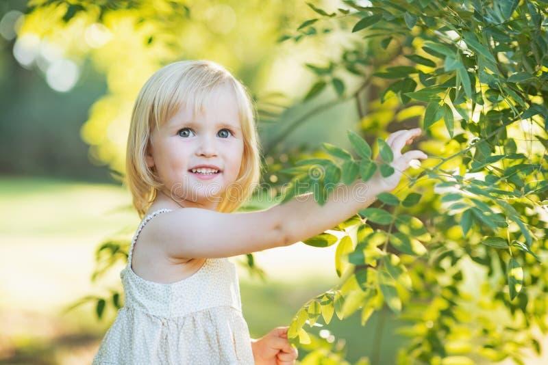 Babymeisje het spelen met boomgebladerte stock foto