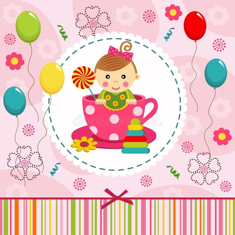 Babymeisje in kop vector illustratie