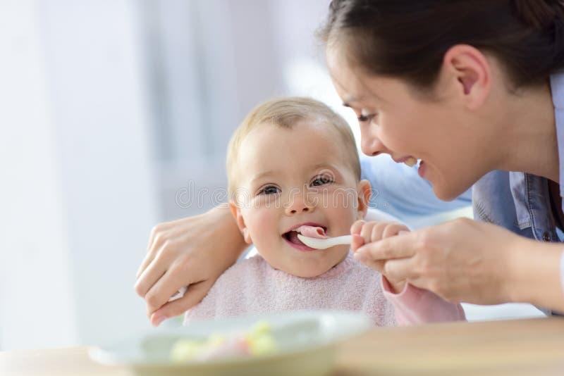 Babymeisje met moeder die haar helpen die eten stock fotografie