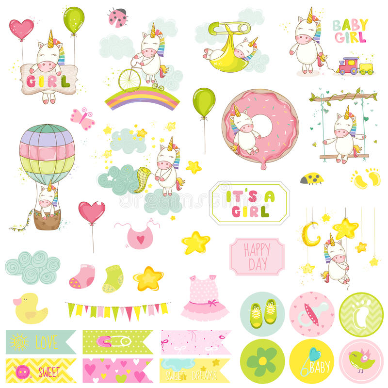 Babymeisje Unicorn Scrapbook Set Decoratieve Elementen vector illustratie