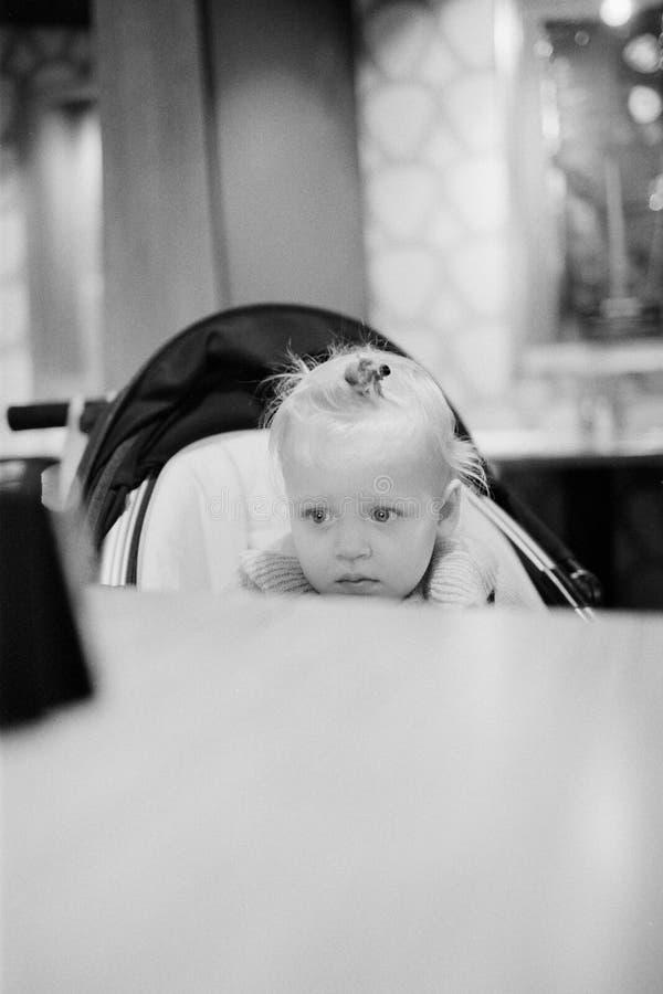 Babymeisje in wandelwagen het letten op beeldverhalen op cellphone royalty-vrije stock afbeelding