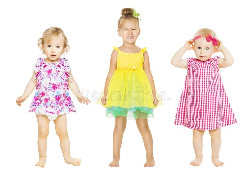 Babymeisjes in Kleding, Jonge geitjesgroep, Peuterkinderen royalty-vrije stock afbeeldingen