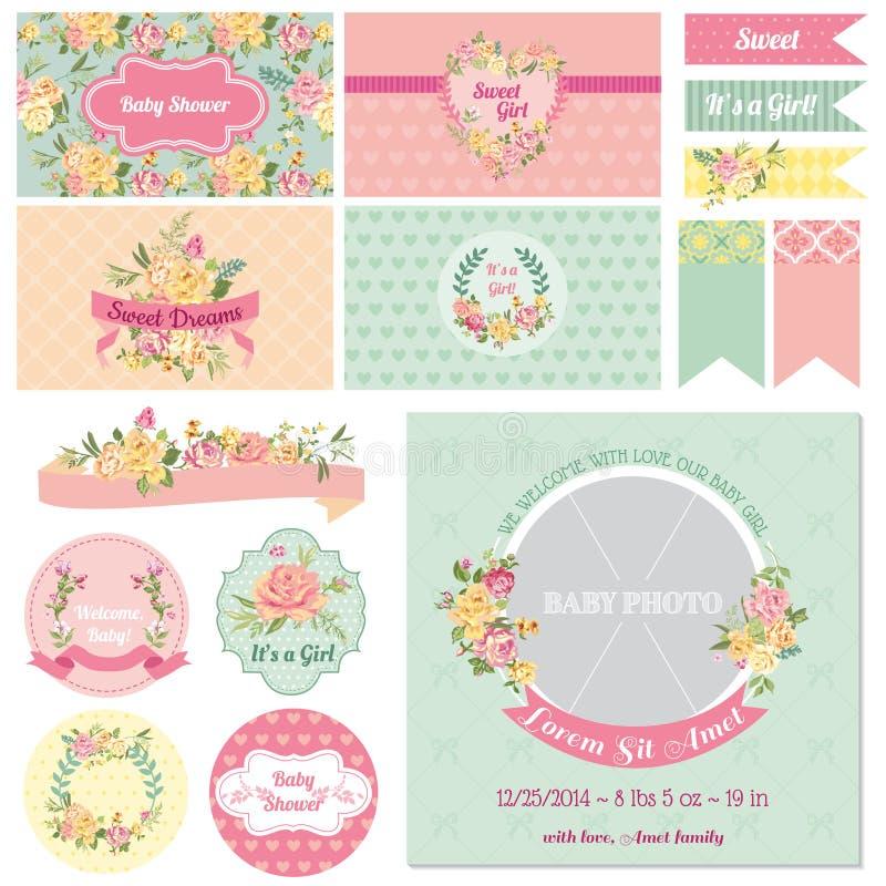 Babyparty-Blumen-Thema lizenzfreie abbildung