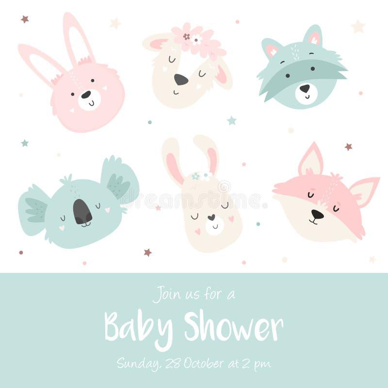 Babyparty-Einladung mit netten Tieren stock abbildung