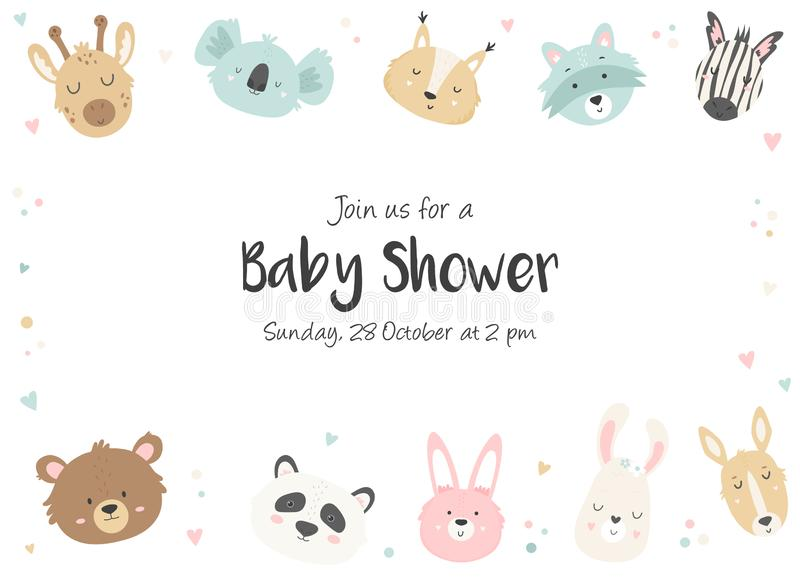 Babyparty-Einladung mit netten Tieren vektor abbildung