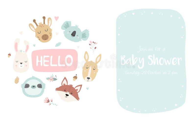Babyparty-Einladung mit netten Tieren Druckentwurf für Einladungen, Babypartyschablonen, Kleider stock abbildung
