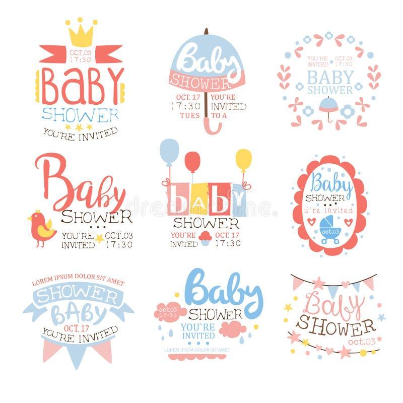 Babyparty-Einladungs-Schablone im Pastellfarbsatz von Designen vektor abbildung