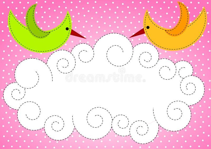 Babyparty-Einladungs-Vögel und Wolke lizenzfreie abbildung