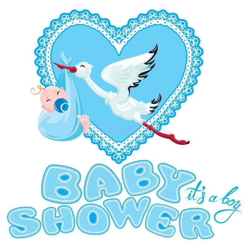 Babyparty, Karte, Einladung, usw. Storch mit Jungen, Spitzeherz a stock abbildung
