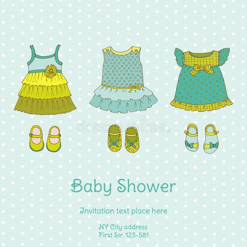 Babyparty-Karte mit Schnecke lizenzfreie abbildung
