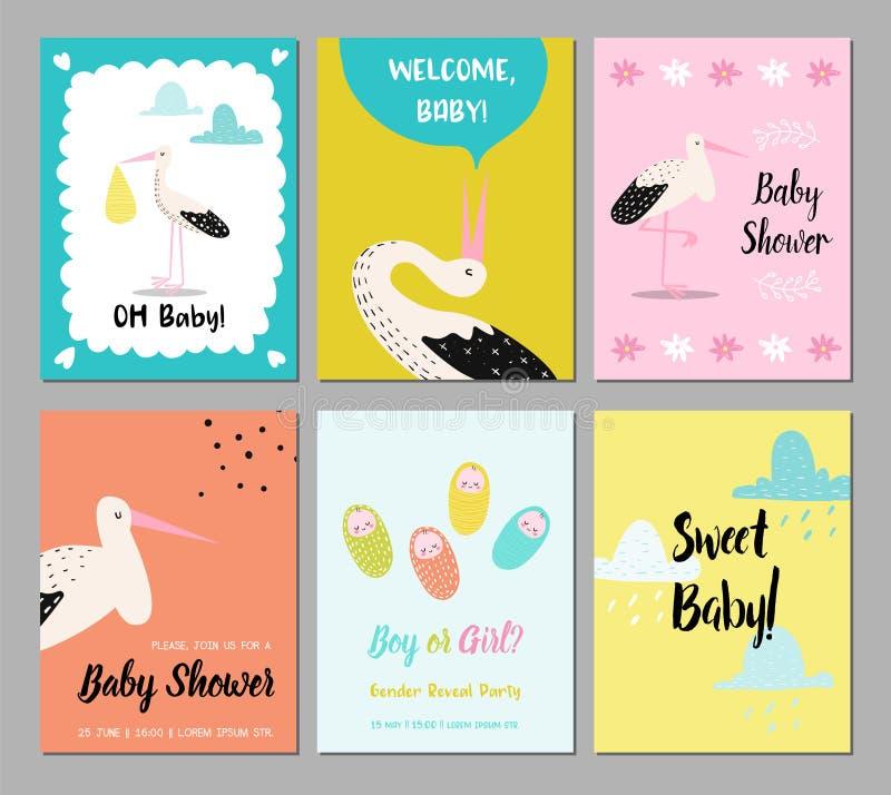 Babyparty-Karten-Satz Neugeborenes Kindereinladung, Glückwunsch, Plakat, Design mit nettem Storch grüßend Alles Gute zum Geburtst lizenzfreie abbildung