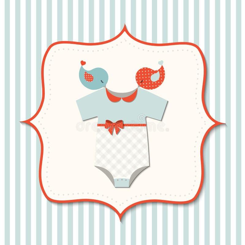 Babyparty mit nettem Kinderbodysuit und Vögeln, Illustration stock abbildung