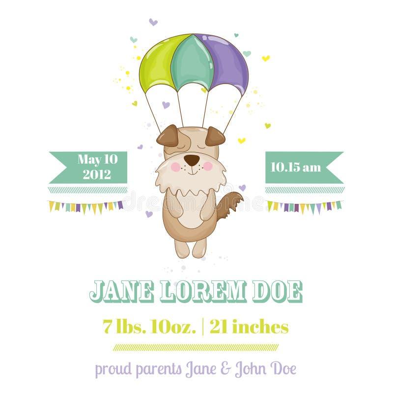 Babyparty oder Ankunfts-Karte - Baby-Hund stock abbildung
