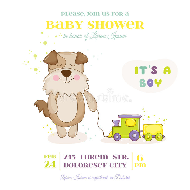 Babyparty oder Ankunfts-Karte - Baby-Hund mit Zug-Spielzeug vektor abbildung