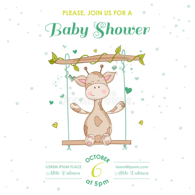 Babyparty oder Ankunfts-Karte mit Baby-Giraffe lizenzfreie abbildung