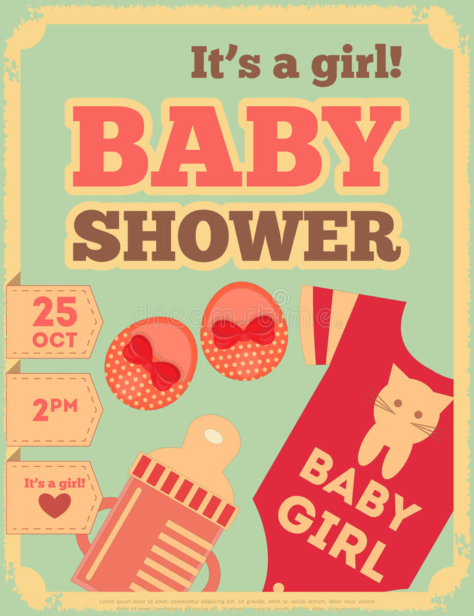 Babyparty-Retro- Plakat stock abbildung