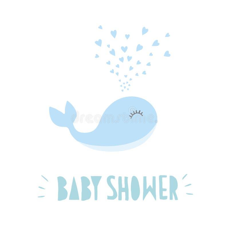 Babyparty-süße Vektor-Illustration Netter abstrakter Blauwal Hellblaue Hand Briefe geschrieben Weißer Hintergrund vektor abbildung
