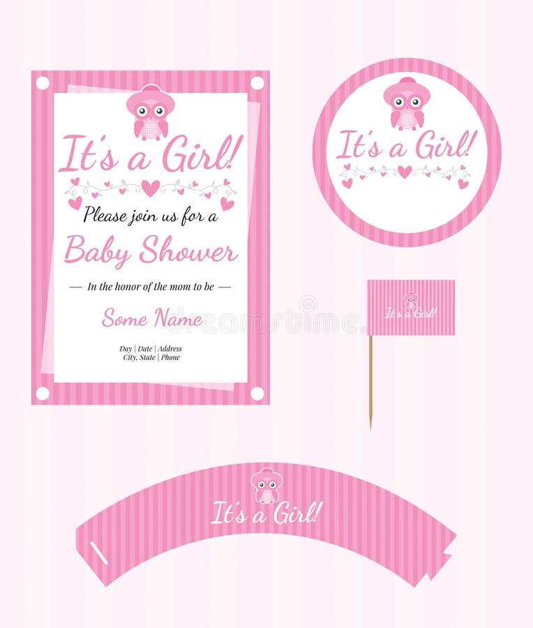 Babyparty-Versorgungen, Babyparty-Mädchen, nettes Owl Shower Party lizenzfreie abbildung