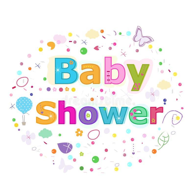 Babypartybeschriftungstext Bunte Plakatdesign-Vektorillustration vektor abbildung