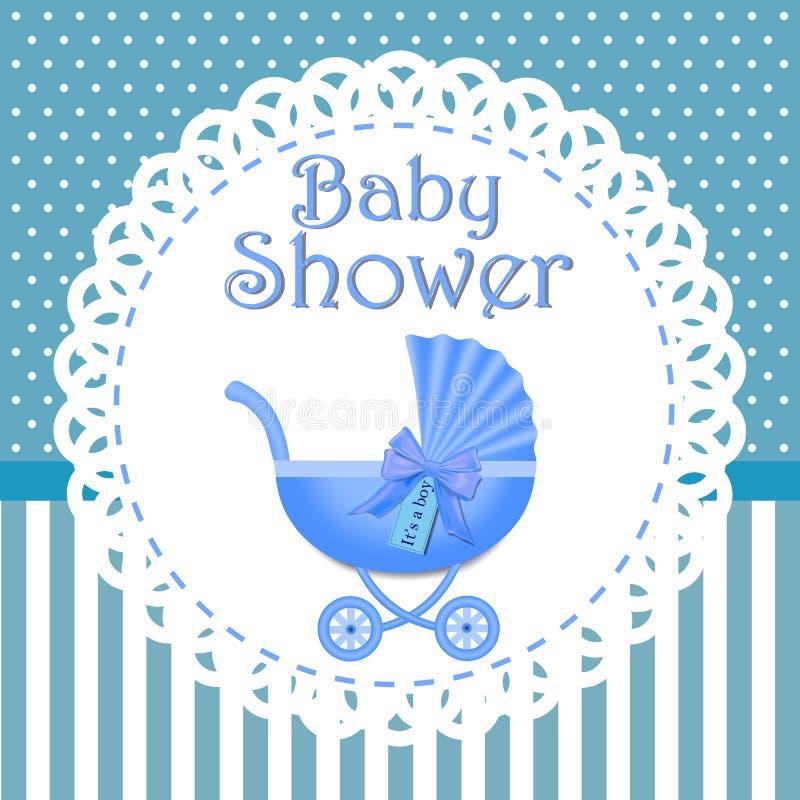 Babypartyeinladung mit blauem Hintergrund, Babyparty f?r Jungen, eps10 stock abbildung