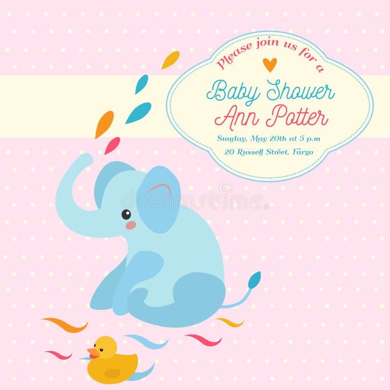 Babypartyeinladungskarte mit Elefanten und kleiner Ente lizenzfreie abbildung
