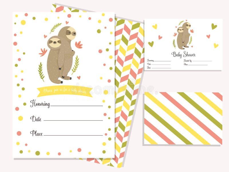 Babypartyeinladungskarte mit netten Trägheiten stock abbildung