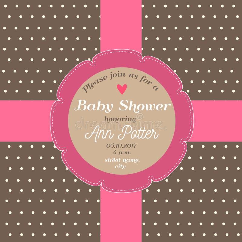 Babypartyeinladungskarte mit Schokoladenhintergrund und rosa Band vektor abbildung