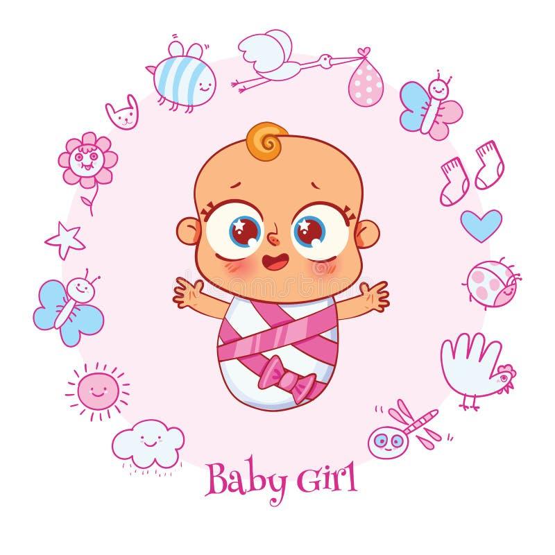 Babypartyfeiergruß- und -einladungskarte stock abbildung
