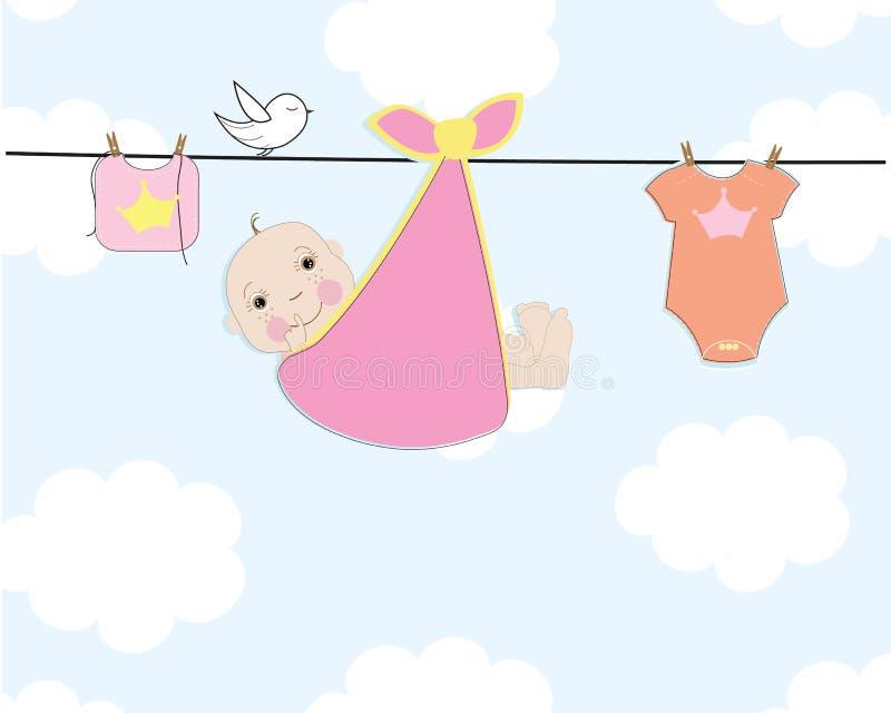Babypartygrußkarte mit Baby und Baby kleiden Vektorillustration vektor abbildung