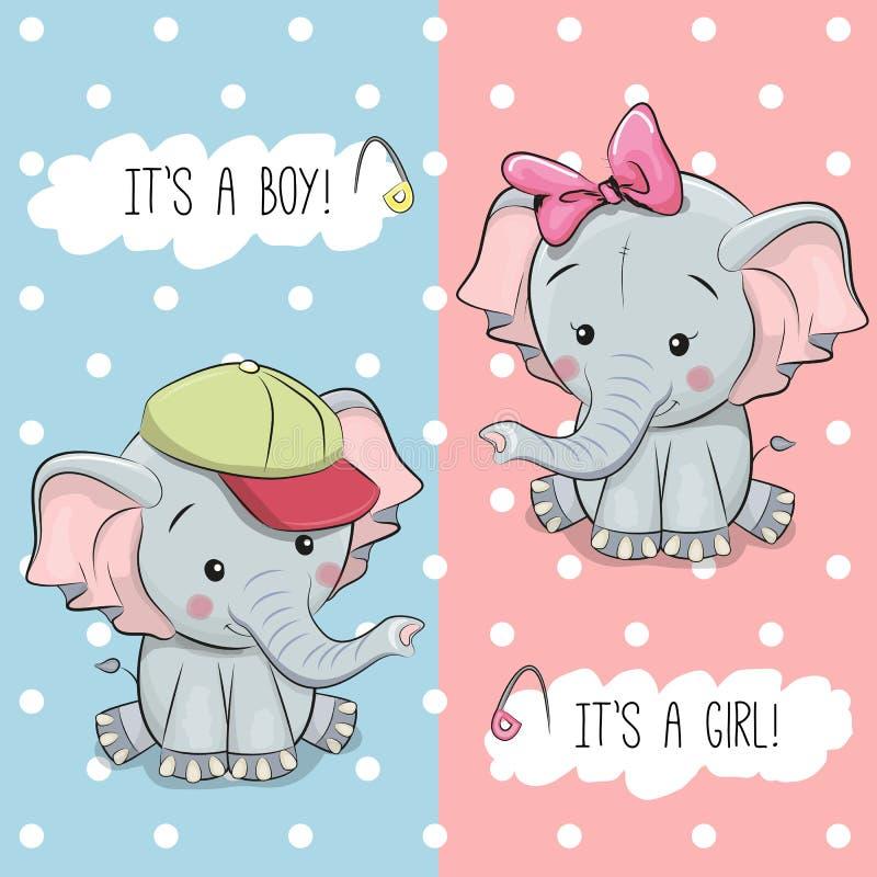Babypartygrußkarte mit Elefanten lizenzfreie abbildung