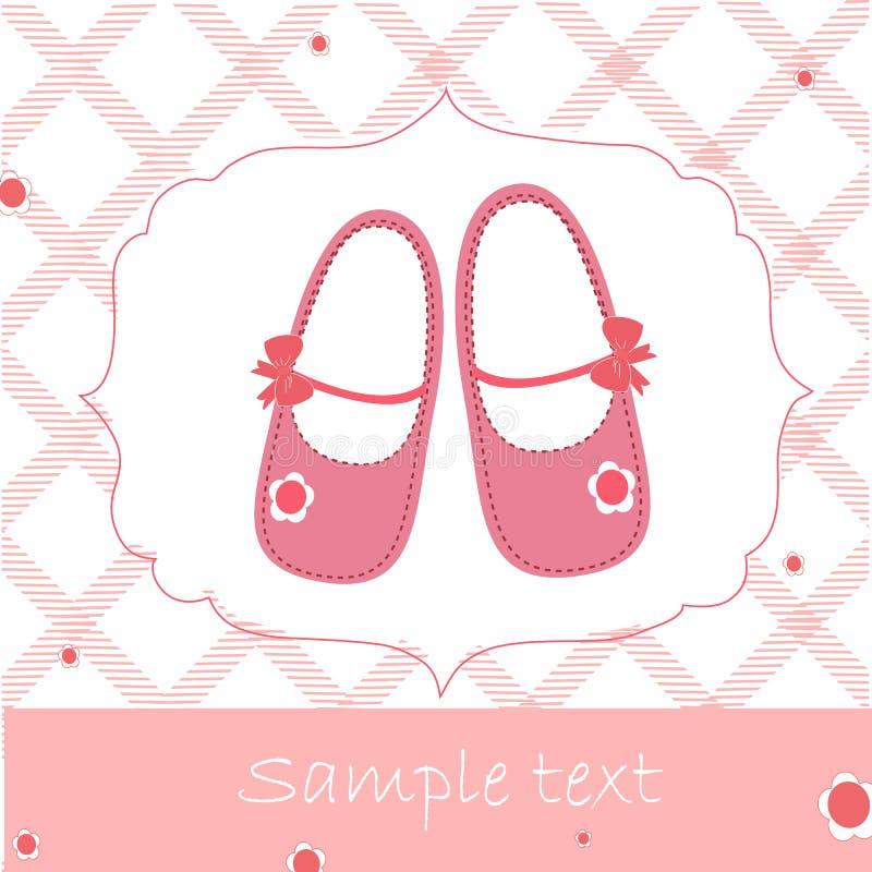 Babypartygrußkarte mit rosa Schuhen lizenzfreie abbildung