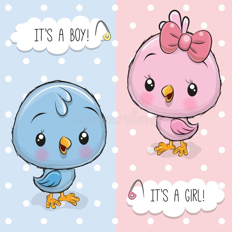 Babypartygrußkarte mit Vögeln Junge und Mädchen stock abbildung