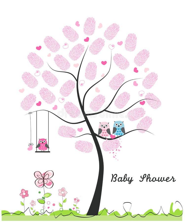Babypartygrußkarte Schätzchen girl Baby-Eule Eulenfamilie mit gemacht von der Fingerabdruckbaum-Vektorillustration vektor abbildung