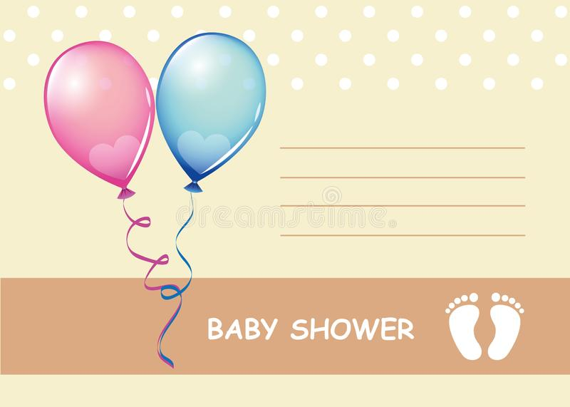 Babypartygrußkartenjunge und -mädchen stock abbildung